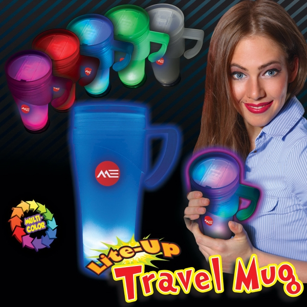 Light Up Travel Mug - Our light up travel mug features multi color LEDs, single and multi color light functions.