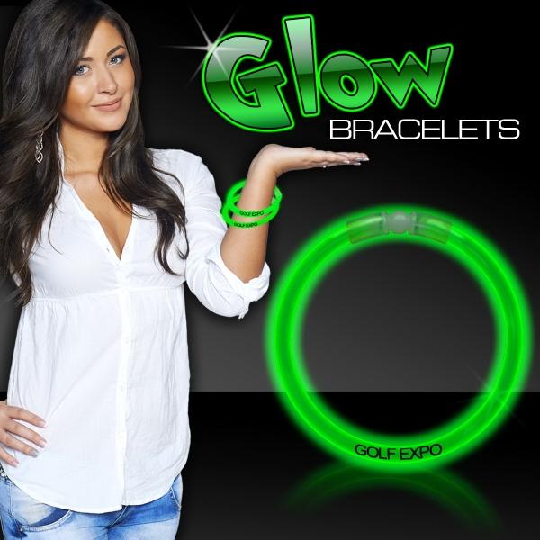 "Green 8\"" Single Color Superior Light Up Glow Bracelet"