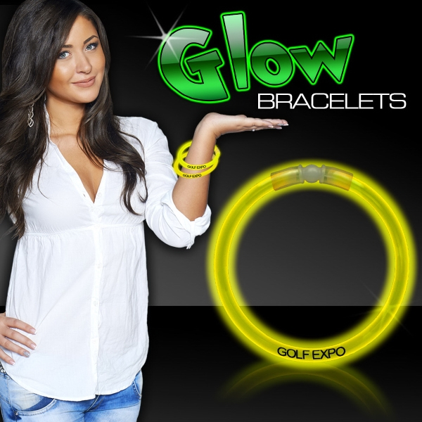 "Yellow 8"" Single Color Superior Light Up Glow Bracelet"