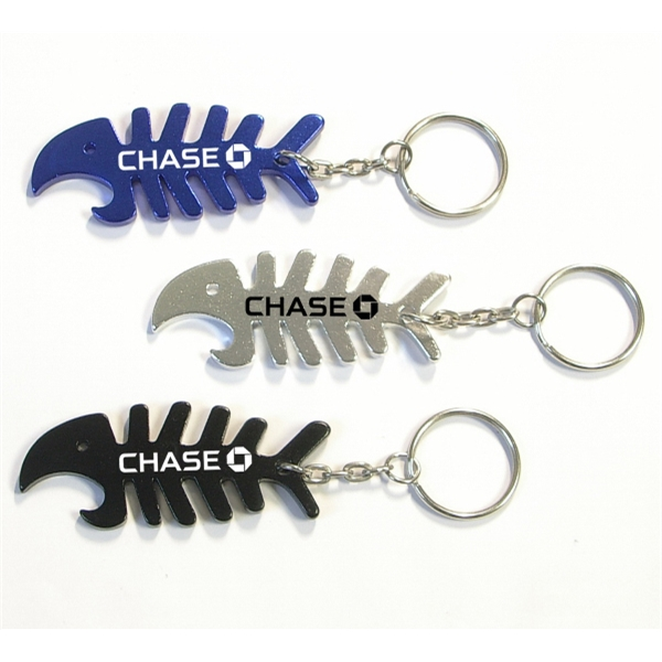 Fish Bone Shaped Metal Bottle Opener with Key Holder