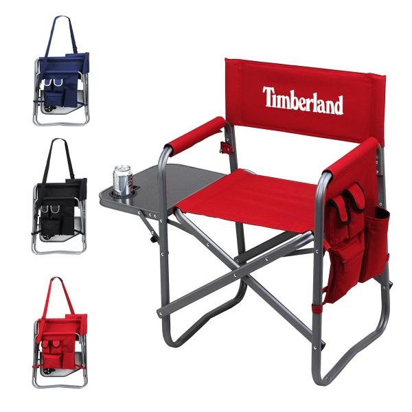 Director Chair With Side Table   Folding Chair With 20.5u0026quot; Wide Seat  And Padded Arm