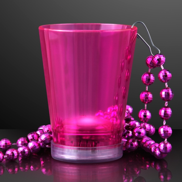 Light Up Pink Shot Glass on Pink Party Bead Necklaces