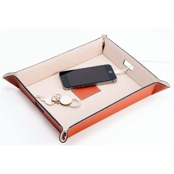 Valet and Charging Station - Brown Leather Valet and Charging Station