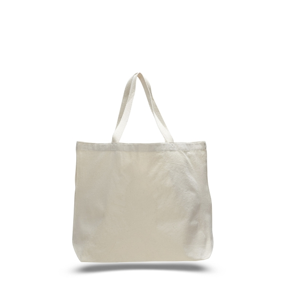"Canvas Jumbo Tote 20"" x 15"" x 5"" Bag with Squared Off Bottom"
