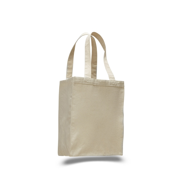 "Canvas Shopping Tote 10.5"" x 14"" Bag with 5"" Gusset"