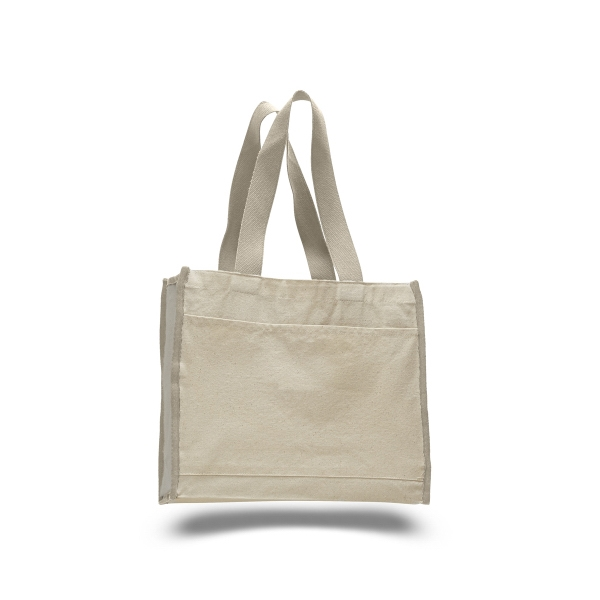 "Canvas Tote 14"" x 12"" Bag with 5.25"" Gusset and Color Handle"