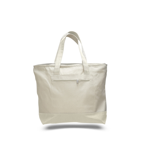 "Canvas Zipper Tote 18"" x 14"" with 4.5"" Gusset Bag with Color"