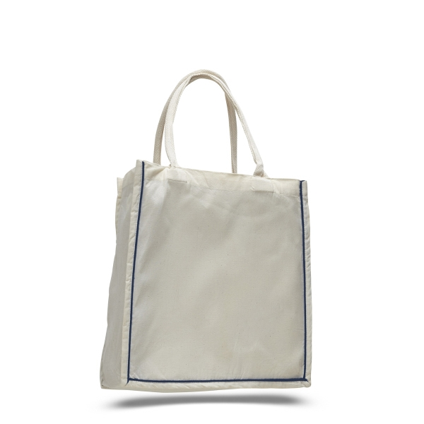 """Fancy Shopper 15"""" x 16"""" with 6"""" Gusset Bag with Color Stripe"""