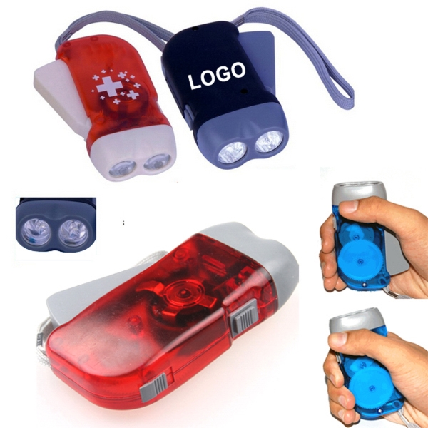 2 LED Bulb Hand Press Flashlight