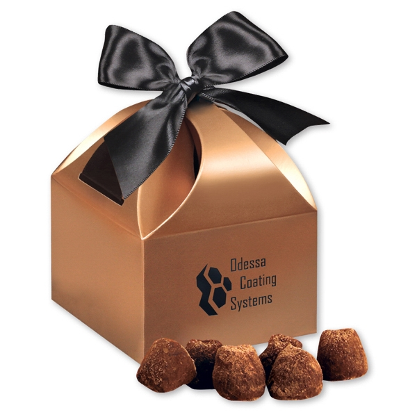 Cocoa Dusted Truffles in Copper Gift Box - copper gift box filled with cocoa dusted truffles