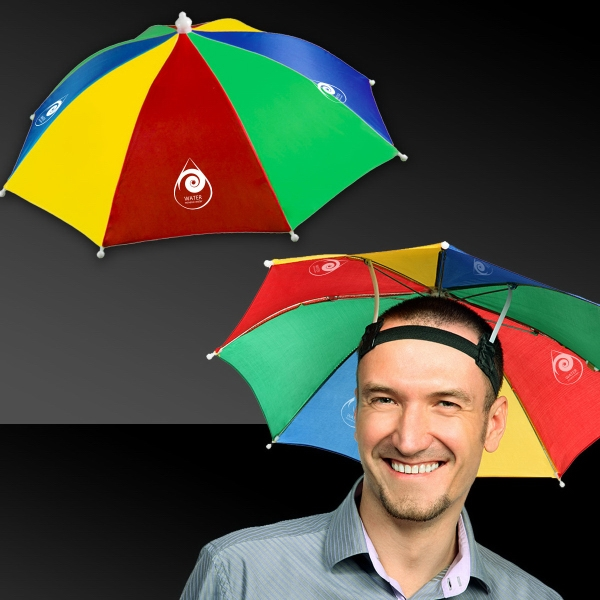 Umbrella Hat - Our multi color umbrella hat has a stretchy circumference and can fit most heads and keep them dry, too!
