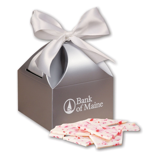 Peppermint Bark in Silver Gift Box - silver gift box filled with peppermint bark