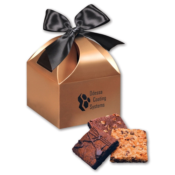 Fresh Baked Brownies in Copper Gift Box - copper gift box filled with fresh baked brownies
