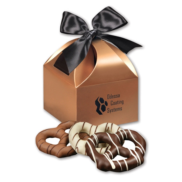 Chocolate Dipped Pretzels in Copper Gift Box - copper gift box filled with chocolate dipped pretzels