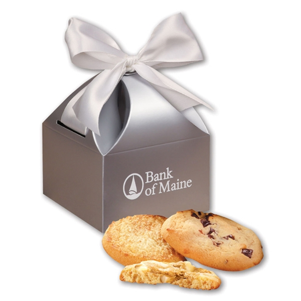 Fresh Baked Cookies in Silver Gift Box - silver gift box filled with fresh baked cookies