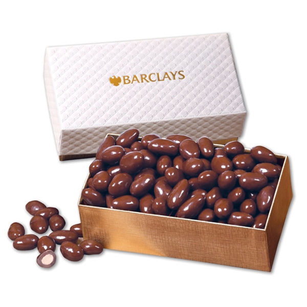 Chocolate Covered Almonds in White Pillow-Top Gift Box - white pillow-top gift box filled with chocolate covered almonds