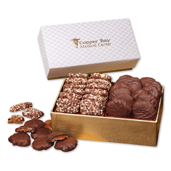 English Butter Toffee & Turtles in White Pillow-Top Gift Box - white pillow-top gift box filled with english butter toffee and pecan turtles