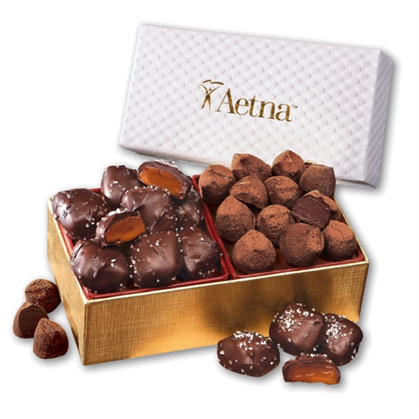 Sea Salt Caramels & Truffles in White Pillow-Top Gift Box - white pillow-top gift box filled with chocolate sea salt caramels and cocoa dusted truffles