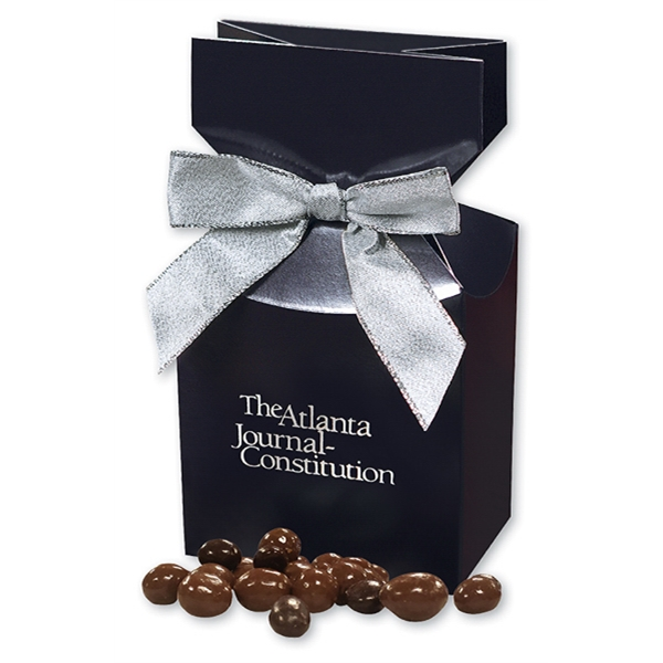 Chocolate Covered Peanuts in Navy Gift Box - navy gift box filled with chocolate covered peanuts