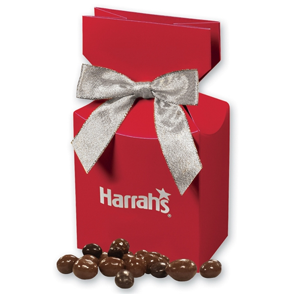 Chocolate Covered Peanuts in Red Gift Box - red gift box filled with chocolate covered peanuts