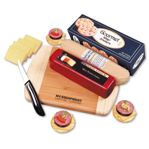 Shelf-Stable A Taste of Wisconsin - bamboo cutting board with cheese, sausage, and crackers
