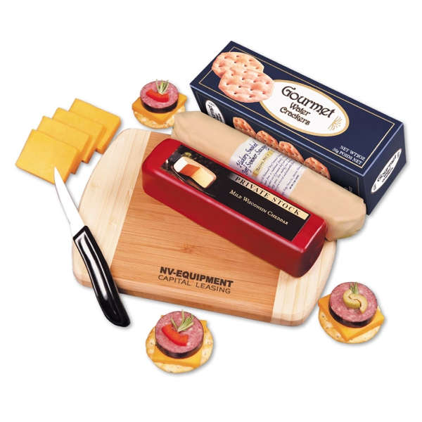 A Taste of Wisconsin - bamboo cutting board with cheese, sausage, and crackers