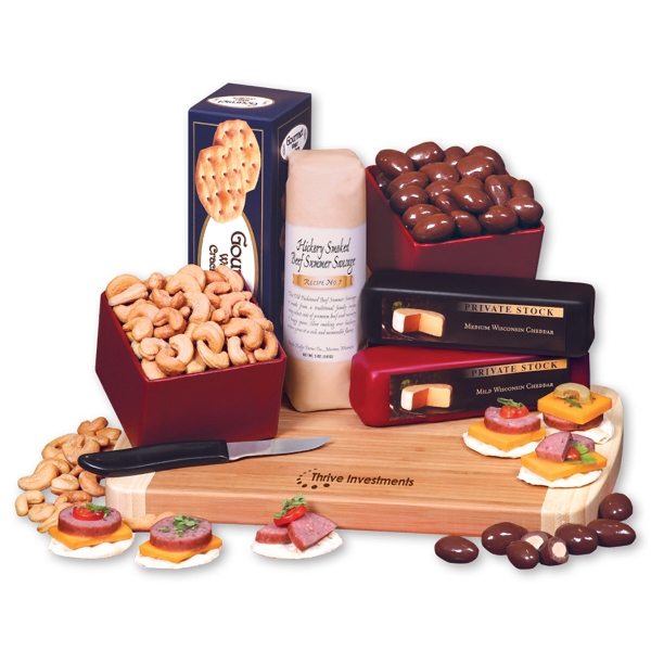 Gourmet Fare - bamboo cutting board with cheese, sausage, crackers, and other food items