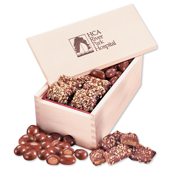 Toffee & Chocolate Almonds in Wooden Collector's Box