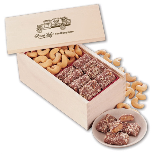 Toffee & Jumbo Cashews in Wooden Collector's Box - wooden collector's box filled with english butter toffee and jumbo cashews