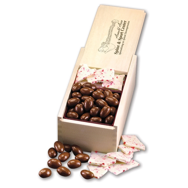 Peppermint Bark & Chocolate Almonds in Wooden Box
