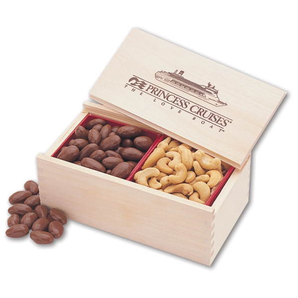 Chocolate Almonds & Cashews in Wooden Collector's Box - wooden collector's box filled with chocolate almonds and cashews