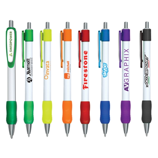 Rico Grip Pen with 4 Color Dome Clip - Pen that is available with full color dome imprint on clip.