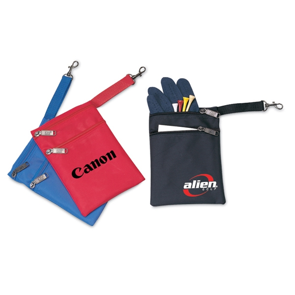 2-Zippers golf pouch with clip
