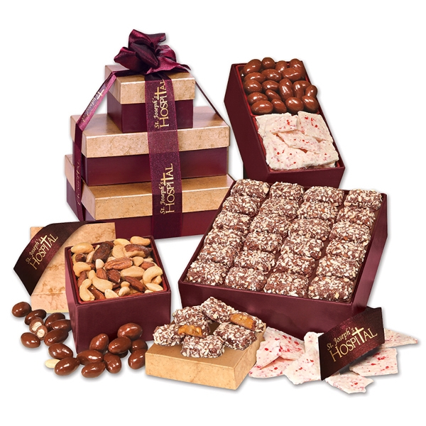 Burgundy & Gold Gourmet Sampler Tower - burgundy and gold tower filled with chocolates and nuts