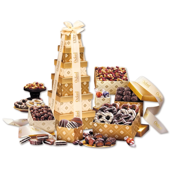Golden Delights Tower of Sweets! with Ivory Ribbon - gold patterned tower filled with chocolates and trail mix