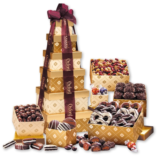 Golden Delights Tower of Sweets! with Sheer Burgundy Ribbon - gold patterned tower filled with chocolates and trail mix