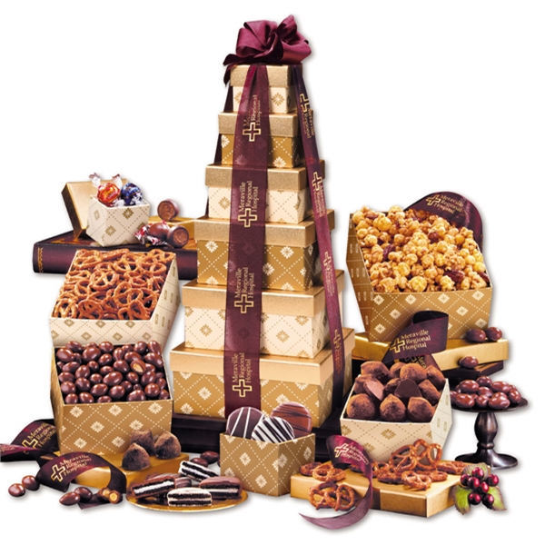 Golden Delights Tower with Sheer Burgundy Ribbon - gold patterned tower filled with nuts, chocolates, and other food items