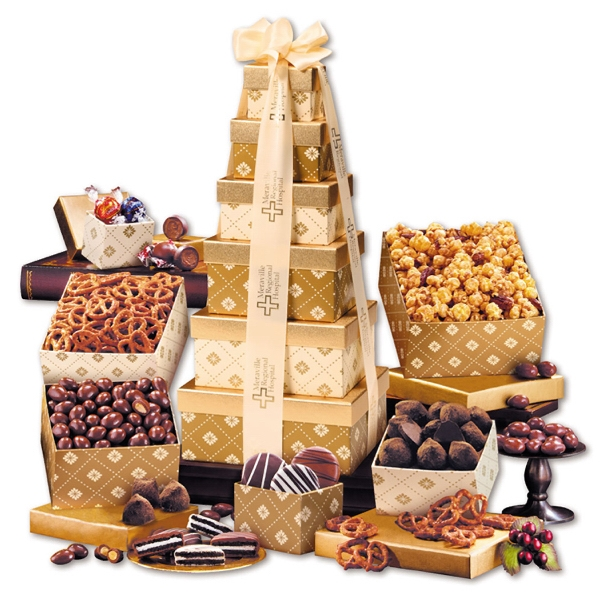 Golden Delights Tower with Ivory Ribbon - gold patterned tower filled with nuts, chocolates, and other food items