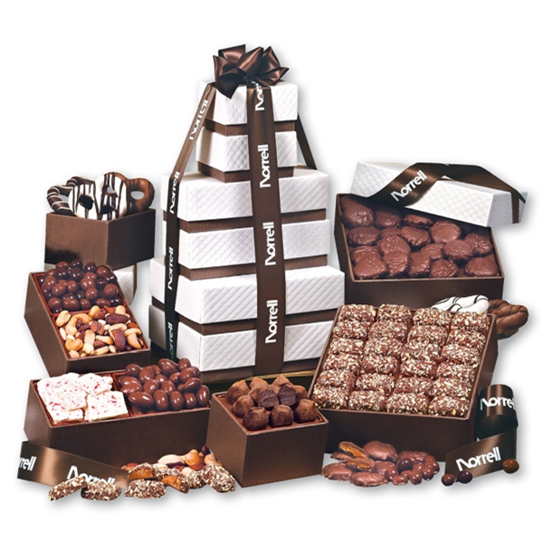 """The """"Park Avenue"""" Ultimate Tower of Treats in Brown - white pillow-top tower filled with chocolates and nuts"""