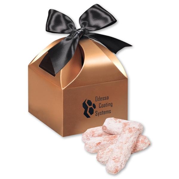 Raspberry Shortbread Cookies in Copper Gift Box - copper gift box filled with raspberry shortbread cookies