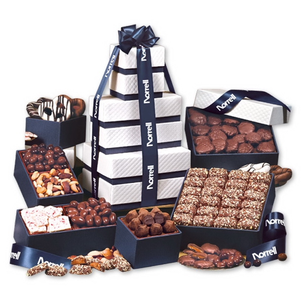 "The ""Park Avenue"" Ultimate Tower of Treats in Navy - white pillow-top tower filled with chocolates and nuts"