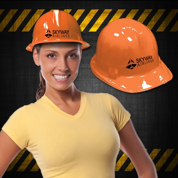 Orange Plastic Construction Hat  - Use our orange novelty construction hat to decorate or to hand out at orange theme construction events