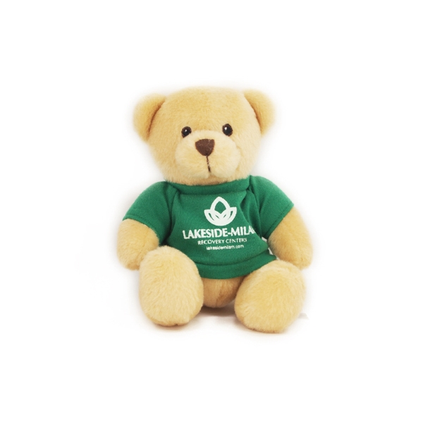 "6"" Tan Honey Bear with t-shirt and one color imprint"