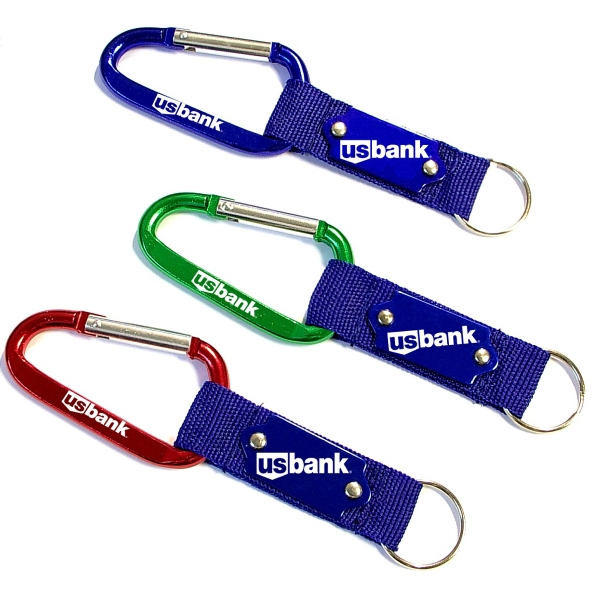 Carabiner with Strap and Metal Plate