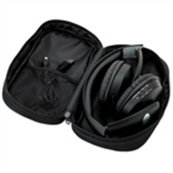 Bluetooth (R) Stereo Headphones - Bluetooth stereo headphones with microphone and carrying case.