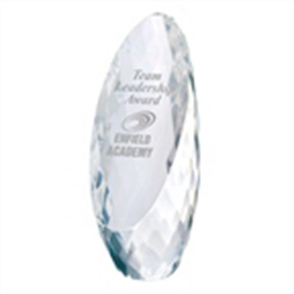 Diamond Cut Egg Inspired Award - Egg Shaped crystal diamond award.