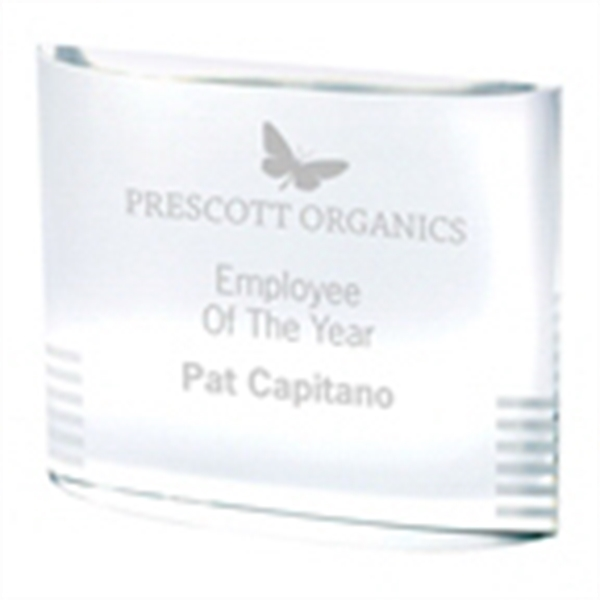 Half Oval Crystal Award - Half oval crystal award is optical crystal with etched accent bars.