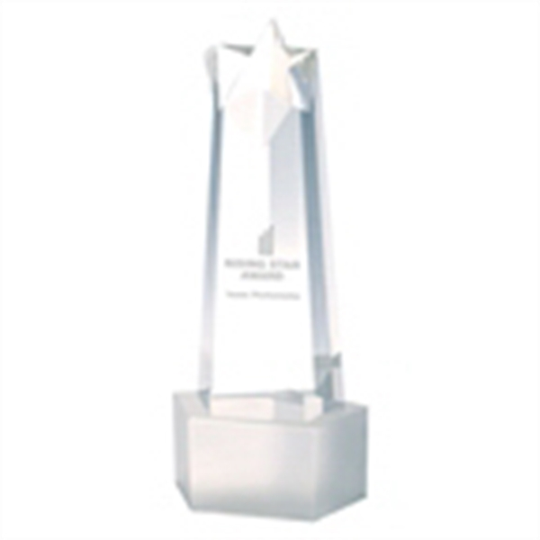 Rising Star Tower Award - Rising star tower award from optical crystal with frosted finish base.