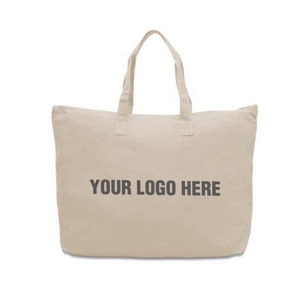 Large Zippered Canvas Tote