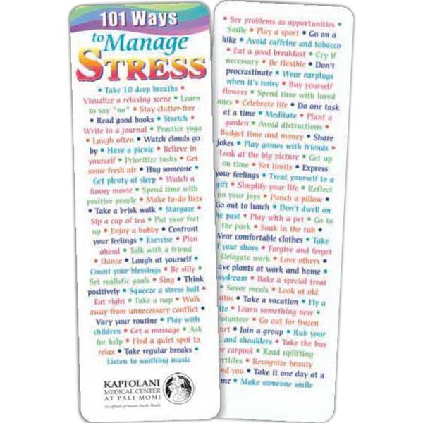 101 Ways To Manage Stress Bookmark